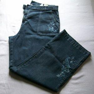 Vintage ERIKA Embroidered Wide Leg Jeans
